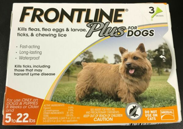 Frontline Plus Flea & Tick Control for DOGS 5-22lbs ORANGE 3 Doses Pack #7001