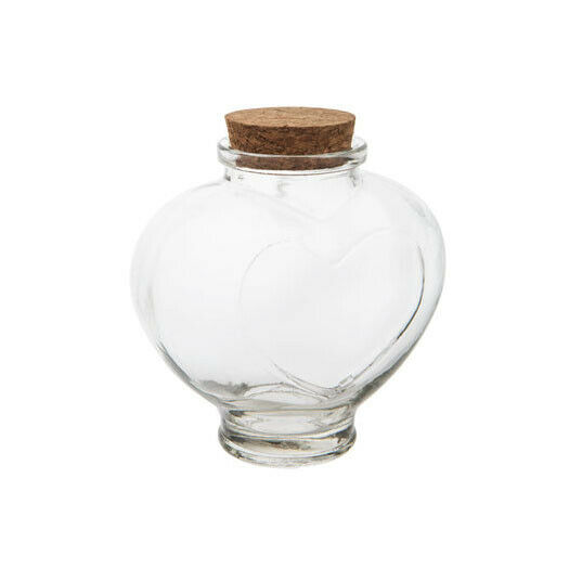 Heart Glass Jar Favor Canister Treats Storage Bottle Container with Cork