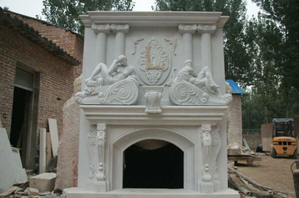 MONUMENTAL HAND CARVED MARBLE ESTATE FIREPLACE MANTEL- FPM533