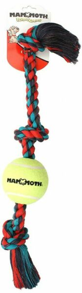 Mammoth 3 Knot Color Tug With Tennis Ball Dog Toy (Assorted Colors)