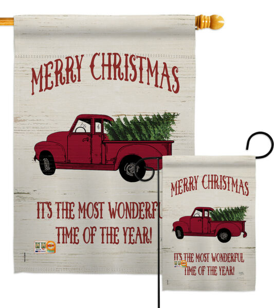 Merry Christmas Vintage Truck-Impressions Decorative Flag Collection - HG114170