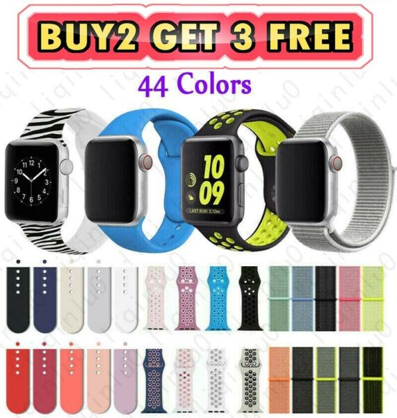 Silicone Nylon Sport Band Strap for Apple Watch Series 5 4 3 2 1 3840mm 4244mm