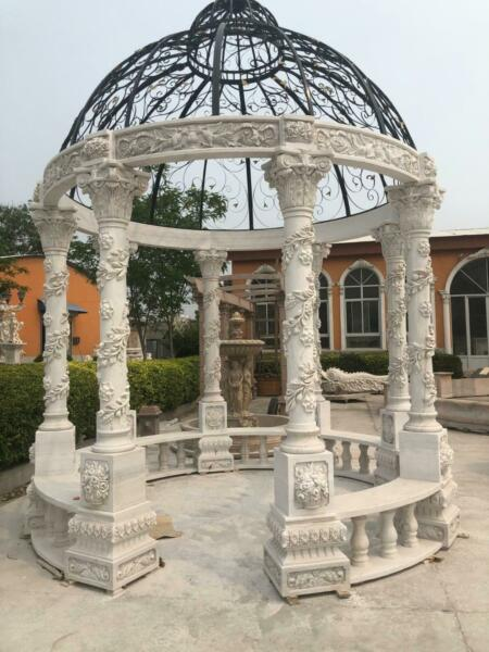INCREDIBLE HAND CARVED MARBLE ESTATE INDOOR OR OUTDOOR GAZEBO - GAZEBO#481