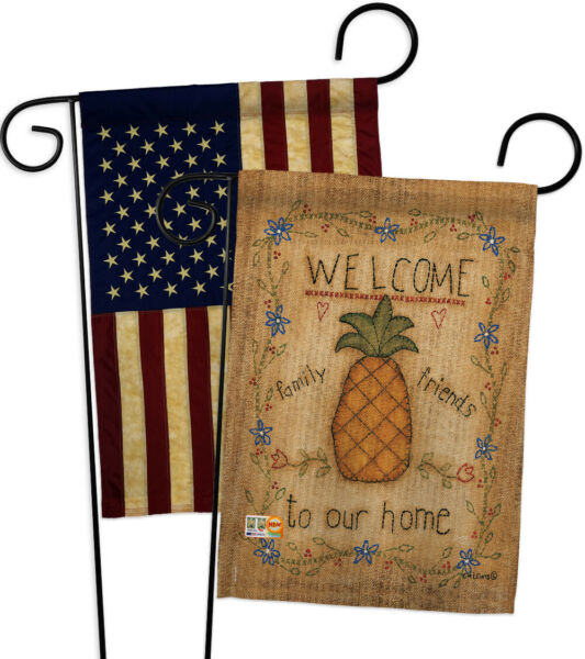 Welcome Sweet Pineapple-USA Vintage-Applique Garden Flags Pack - GP100071-BOAA
