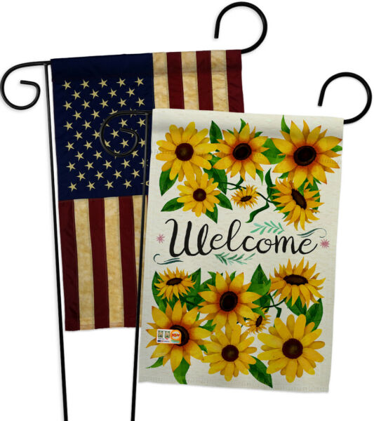 Welcome Sunflowers Bouquet-USA Vintage-Applique Garden Flags Pack-GP104091-BOAA