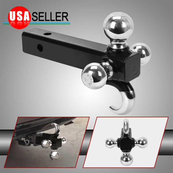 Tri Ball Hitch With Hook Heavy Duty 3 in 1 Mount Trailer 1 7 8quot; 2quot; 2 5 16quot; Tow $35.79