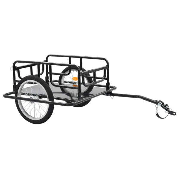 vidaXL Bike Cargo Trailer 51.2quot; Steel Black Bicycle Vehicle Sporting Accessory $118.99