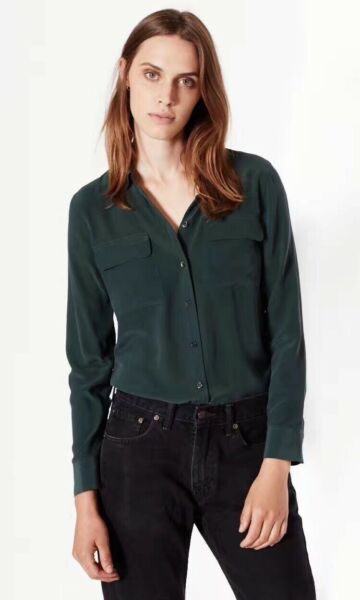 Equipment Slim Signature Silk Shirt Dark Green