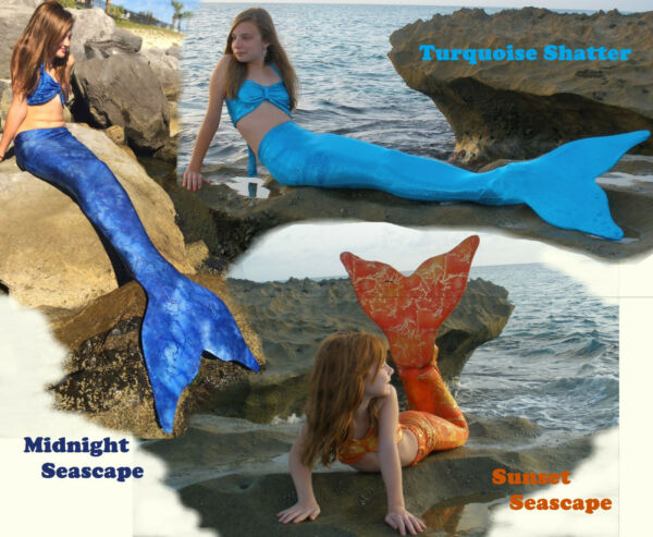 Mermaid Tail with Monofin made in US Swimmable Girls Adult So much Fun Swim Fin.