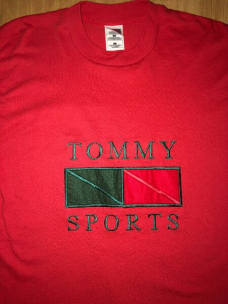 Tommy Sports Red Men#x27;s L T Shirt Embroidered RARE VINTAGE FASHION COLORWAY $38.00