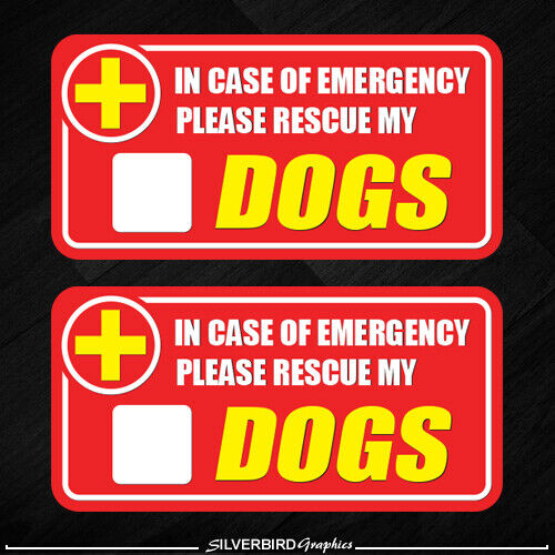 2x Dog Pet Rescue Sticker Emergency Fire Safety Safe Warning Caution Pets Cat $2.96