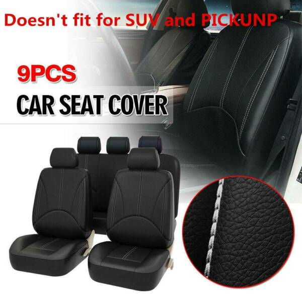 Black Breathable PU Leather Car Seat Cover Full Seat Protector Set Front