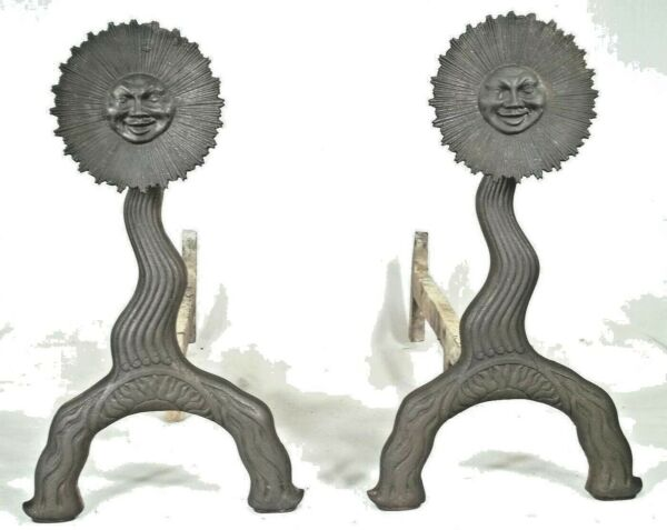 RARE ANTIQUE 19th CENTURY SUN FACE FOLK ART CAST IRON BRADLEY+HUBBARD ANDIRONS