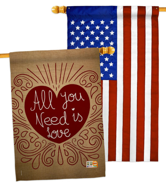 All You Need Is Love Burlap-Decorative US-Applique House Flag Pack-HP101052-BOAB