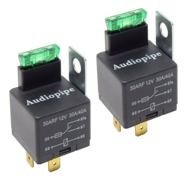 2 Pack 12V 5 Pin Relay with Built in Fuse 30A 40A Auto Metal Mounting Tab SPST