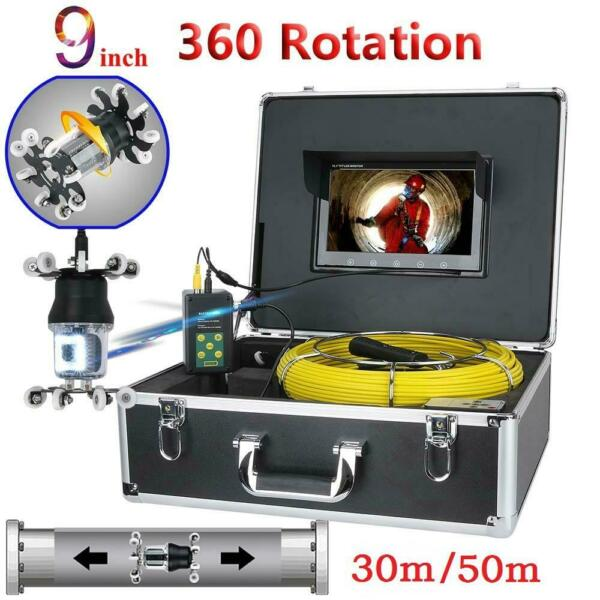 360° Rotating Camera 9quot; Drain Sewer Pipeline Industrial 38 LEDs IP68 Endoscope