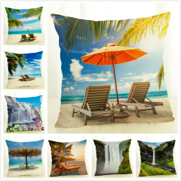 Summer Seaside Scenery Throw Pillow Covers Linen Couch Decorative Pillow Case $3.86