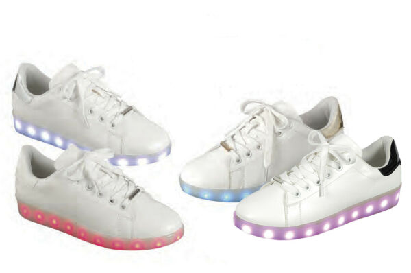 Women Fashion Led Low Top Sneakers Flashing Rechargeable Light Up Faux Leather