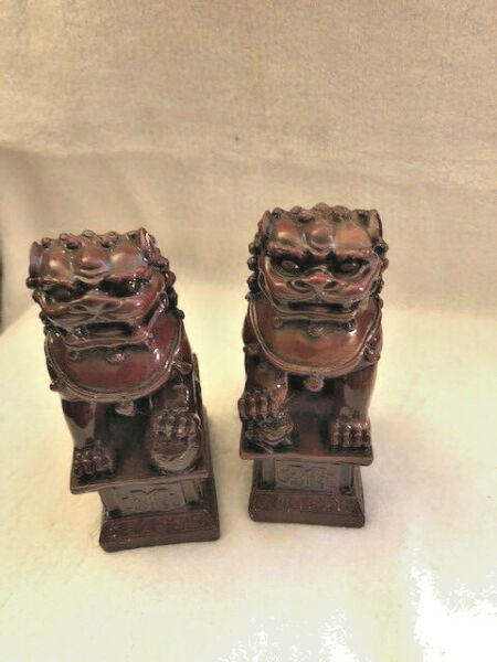 "2 VINTAGE BROWN FOO LION DOGS 4.5"" JUST GORGEOUS $39.99"