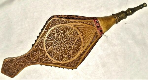 small fireplace Bellows maple leather turned brass nozzle chip carved 15quot;l