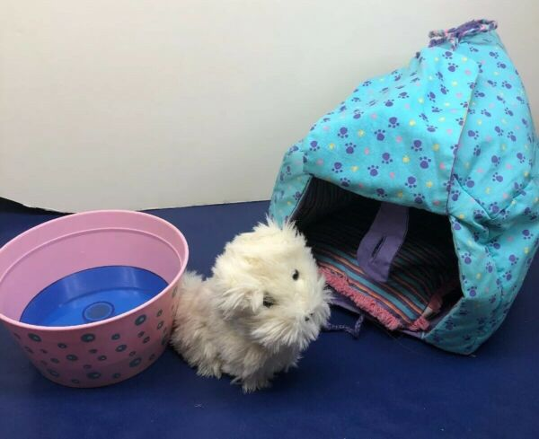 """5"""" American Girl Doll Dog quot;Coconutquot; w Dog Tent Water Tub For Baths amp; Pillow $17.00"""