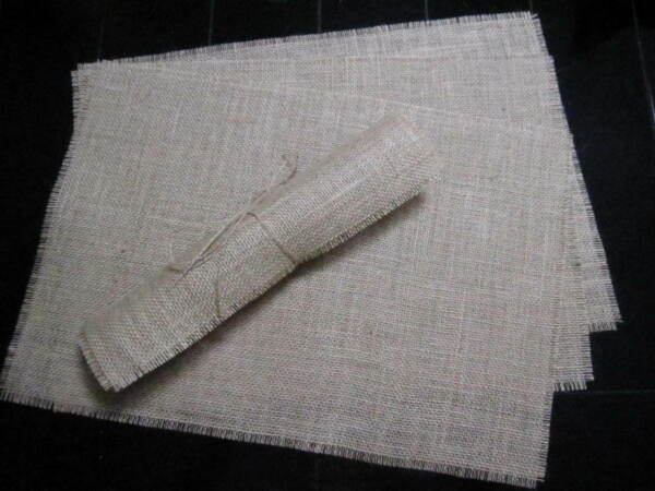 Set of 6 Burlap Placemats Fringed Table mats Kitchen Dining Country Jute Décor