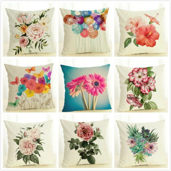 Colorful Spring Flower Throw Pillow Case Burlap Square Decorative Cushion Cover