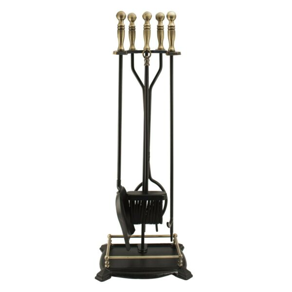 Panacea 15006 Antique Fireplace Toolset with Brass Handles 5 Piece set