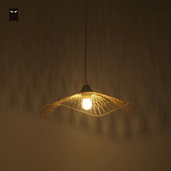 Single Bamboo Wicker Rattan Cap Shade Pendant Light Fixture Hanging Lamp Design