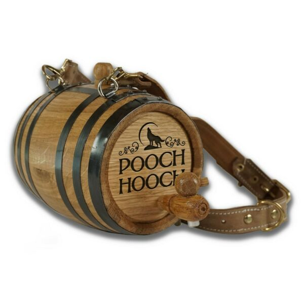 Pooch Hooch - St. Bernard Dog 1 L Oak Barrel w Black Hoops & Leather Collar