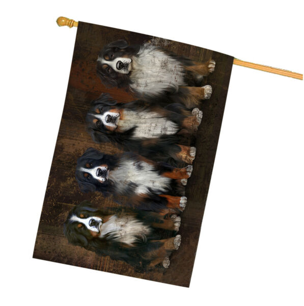Rustic 4 Bernese Mountain Dogs House Flag FLG48353