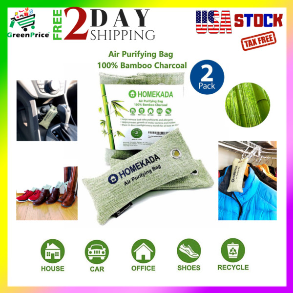 2 Air Purifying Bag Activated Bamboo Charcoal Odor Absorber Breath Fresh Nature