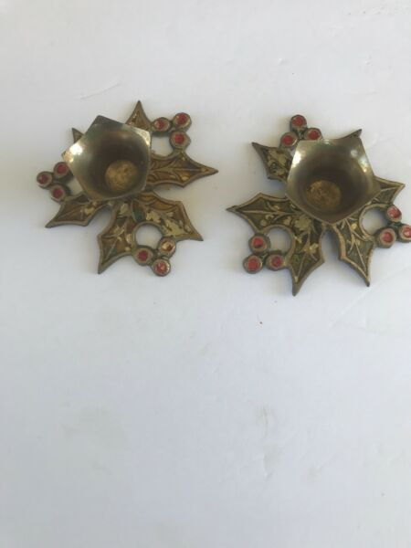 2 Vintage Solid Brass Candlestick Christmas Holly Leaf Candle Holder~India