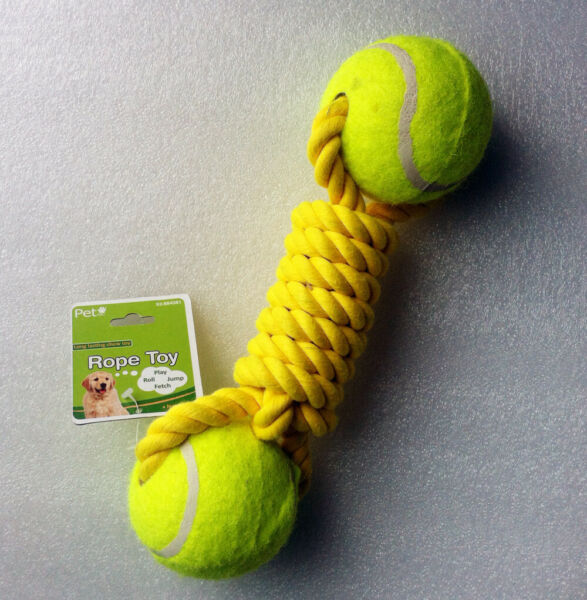 Durable Squeaker Dumbbells Dog Tennis Ball Toys for Dogs Chewing Biting Playing