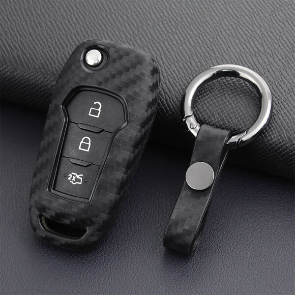 Carbon Fiber Car Key Case Holder Protector Cover Accessories For Ford 2015-2019