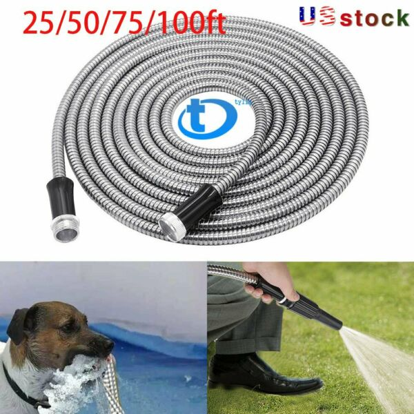 Stainless Steel Metal Garden Hose Water Pipe 255075100FT Flexible Lightweight