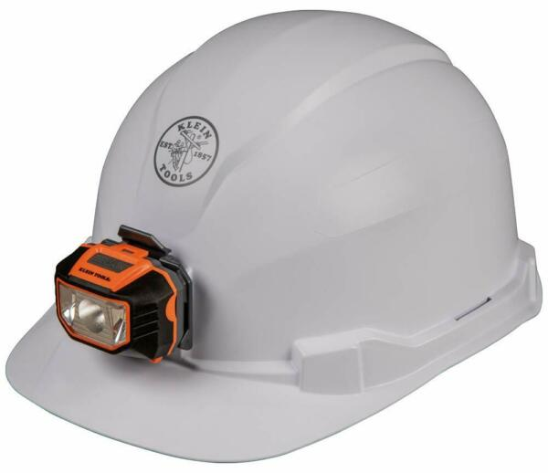 NEW KLEIN TOOLS 60107 CLASS E TYPE WHITE HARD HATCAP STYLE WITH LIGHT NON VENTED $48.98