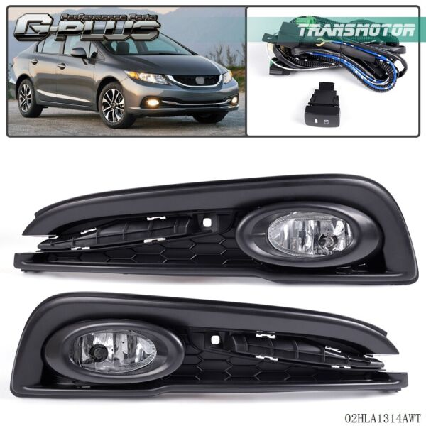 Driving Bumper Fog Lights + Wiring Lamps Kit + Switch For 13-15 Honda Civic 4D