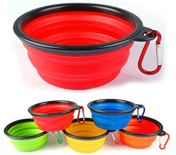 1 Collapsible Travel Dog Food Water Bowls BPA Lead Free Carbiners Red Blue Pink $4.99