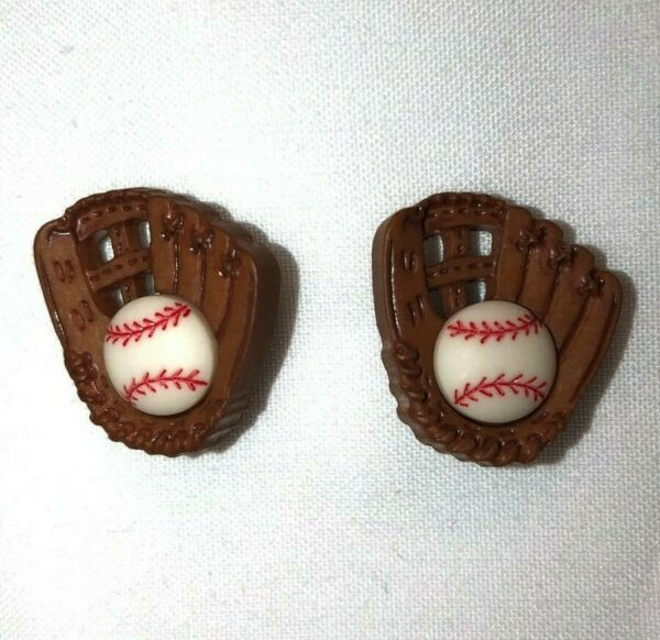 Cute BASEBALL & MITT GLOVE EARRINGS Earring Post Stud Pierced Women Girl Sports