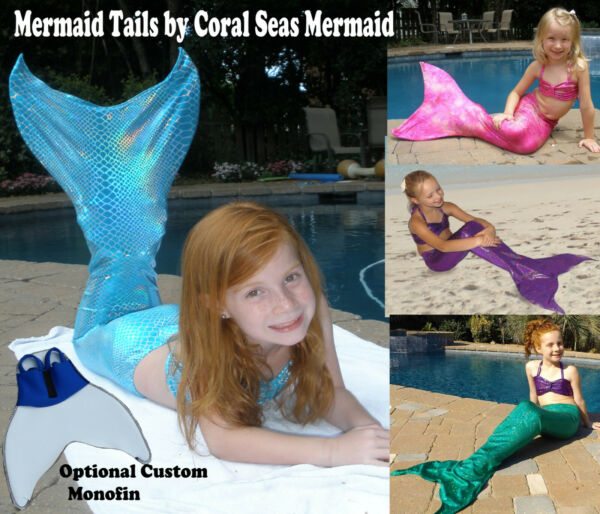 Mermaid tail for play or swimming with or without monofin.