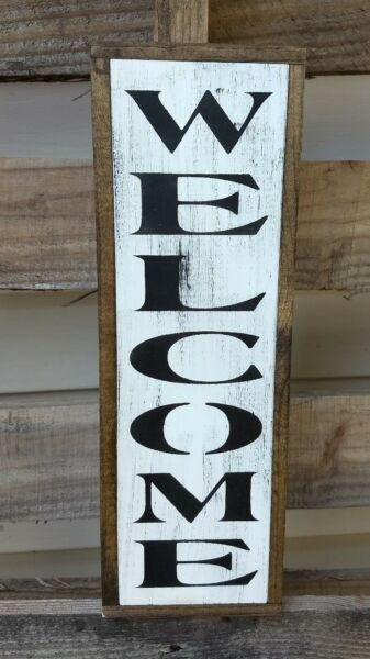 farmhouse sign wood WELCOME vertical home decor wooden rustic porch kitchen sign $49.99