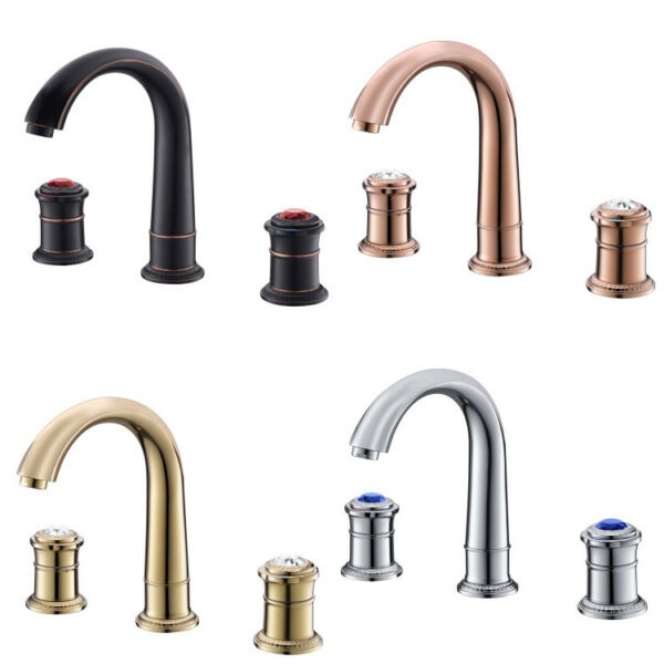 Bathroom Basin Sink Faucet Deck Mount Hot Cold Mixer Bath Tap Brass Two Handles