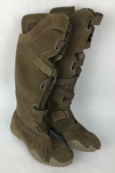 New Puma Mostro Alto Women's beige Brwn perforated leather boots EUR 35.5 US 5.5