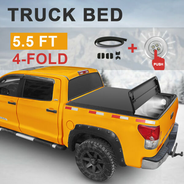 Tonneau Cover For 2009-2014 Ford F150 5.5 feet 4 FOLD wHardware Truck Bed