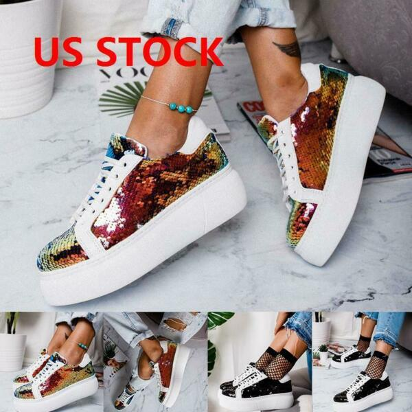 New Women's Sequin Glitter Lace Up Fashion Shoes Comfort Athletic Sneakers US