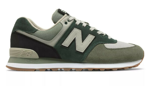 NEW BALANCE MENS CLASSIC TRADITIONALS ML574MLD-MLD GREEN/BLACK/WHITE-GUM SOLE