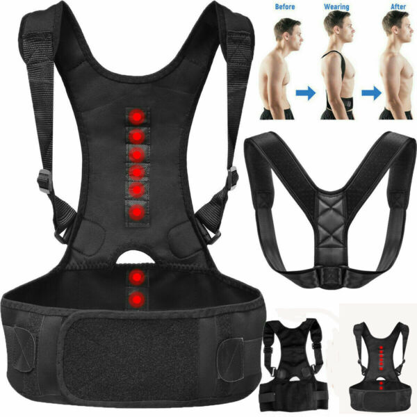 Posture Corrector Support Magnetic Lumbar Back Shoulder Brace Belt for Women Men