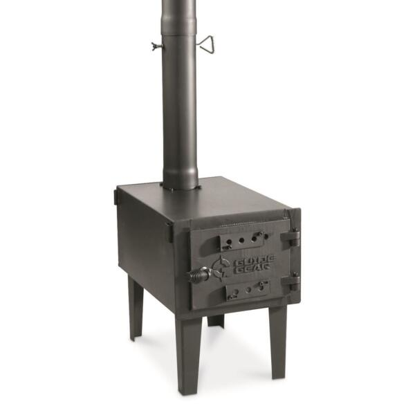 Outdoor Wood Stove Cast Iron Portable Camping w Pipe For Vented Tent Cooking