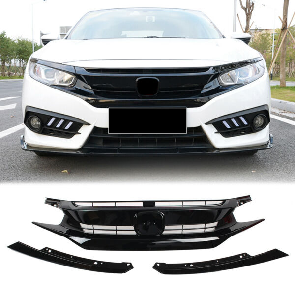 Black Front Hood Grill Grille Eyelid for 2016 2017 2018 Honda Civic Coupe Sedan